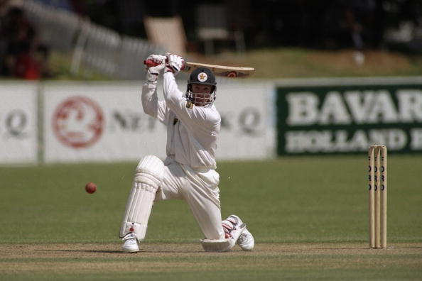 18-22 Dec 1996:  Andy Flower of Zimbabwe on his way to scoring a century during the first test match