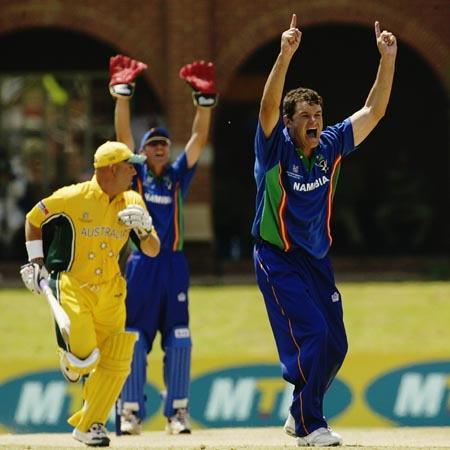 Rudi van Vuuren of Namibia appeals for the wicket of Darren Lehmann of Australia