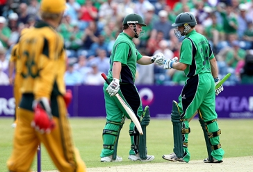 One Day International 17/6/2010 Ireland vs Australia Ireland's Paul Stirling celebrates with William Porterfield Mandatory Credit ©INPHO/James Crombie