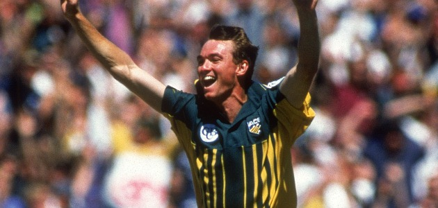 MELBOURNE, AUSTRALIA - JANUARY 16:  Anthony Stuart of Australia celebrates after taking a hat trick during the One Day International match between Australia and Pakistan held at the Melbourne Cricket Ground January 16, 1997 in Melbourne, Australia. (Photo by Shaun Botterill/Getty Images)